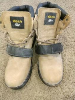 Cougar Paws  Tan Lace-Up Strap Roofing Work Boots Men's US 1